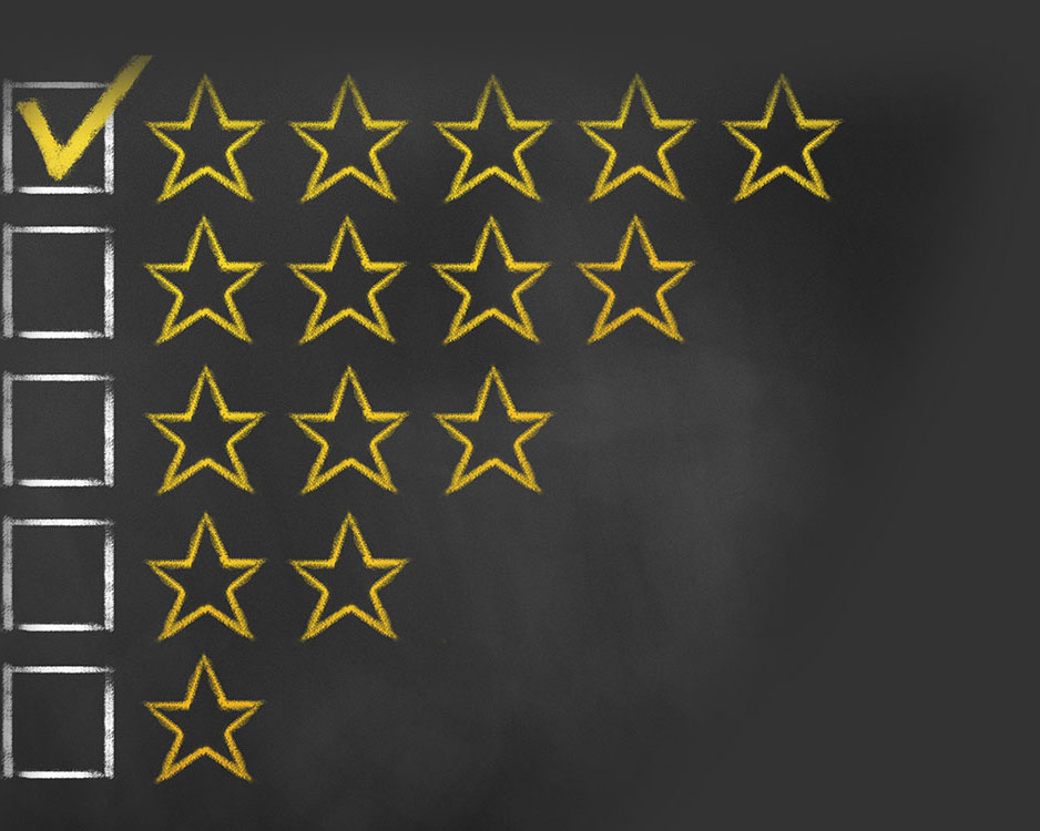 top reviews checked off