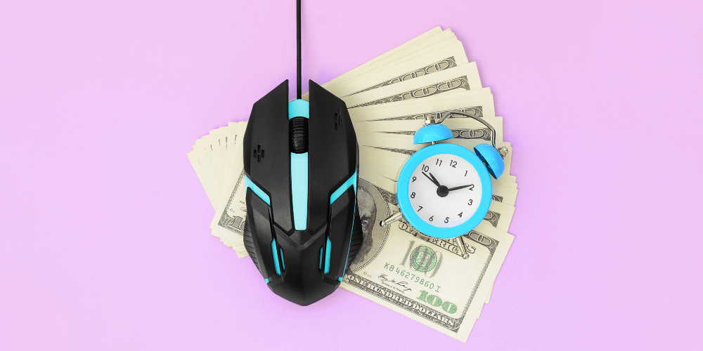 mouse on money and a clock
