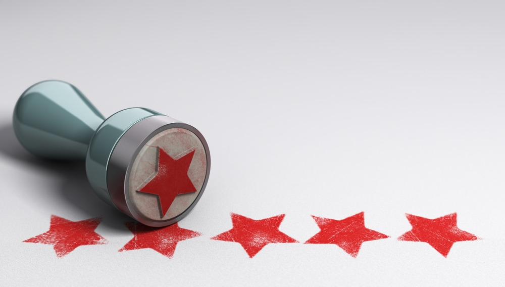 Review stars with a stamp