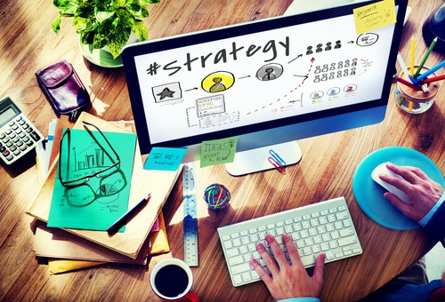 business strategy on laptop