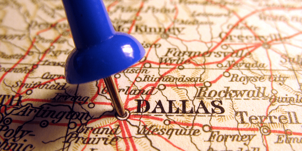Dallas pinpointed on the map