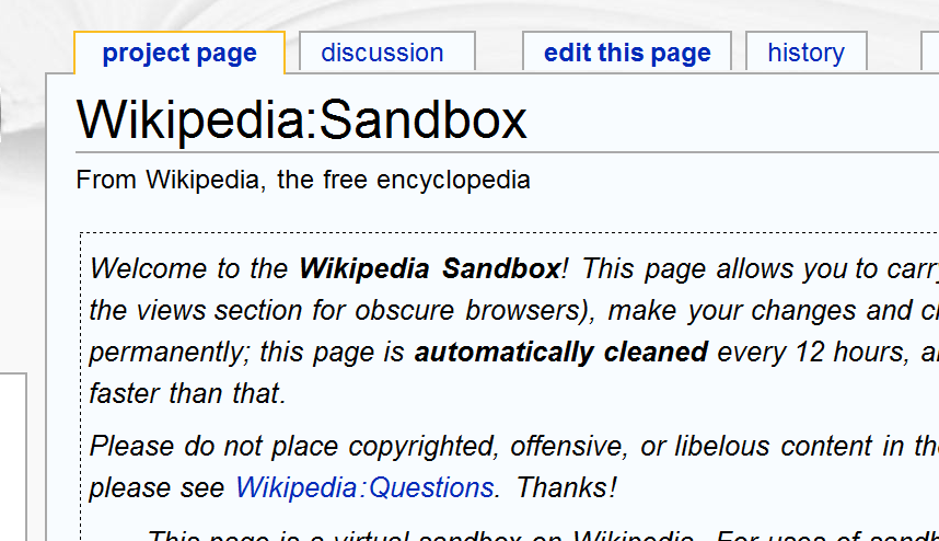Using the Wikipedia sandbox when creating a new page